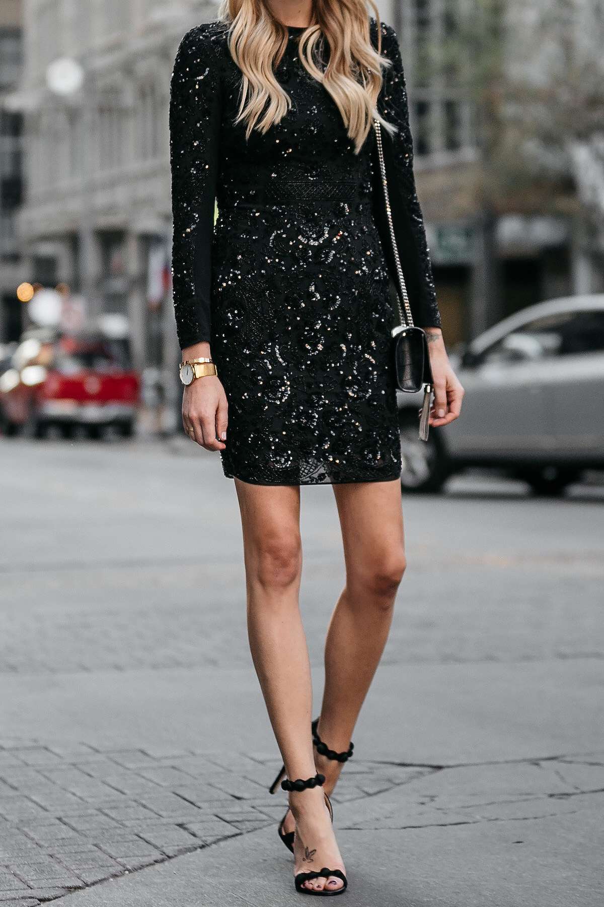 Long Sleeve Black Sequin Dress Needle and Thread Black Ankle Strap Heels Fashion Jackson Dallas Blogger Fashion Blogger Street Style NYE Outfit