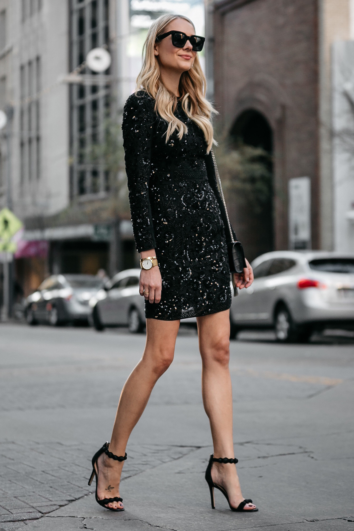 Blonde Woman Wearing Long Sleeve Black Sequin Dress Needle and Thread Black Ankle Strap Heels Fashion Jackson Dallas Blogger Fashion Blogger Street Style NYE Outfit