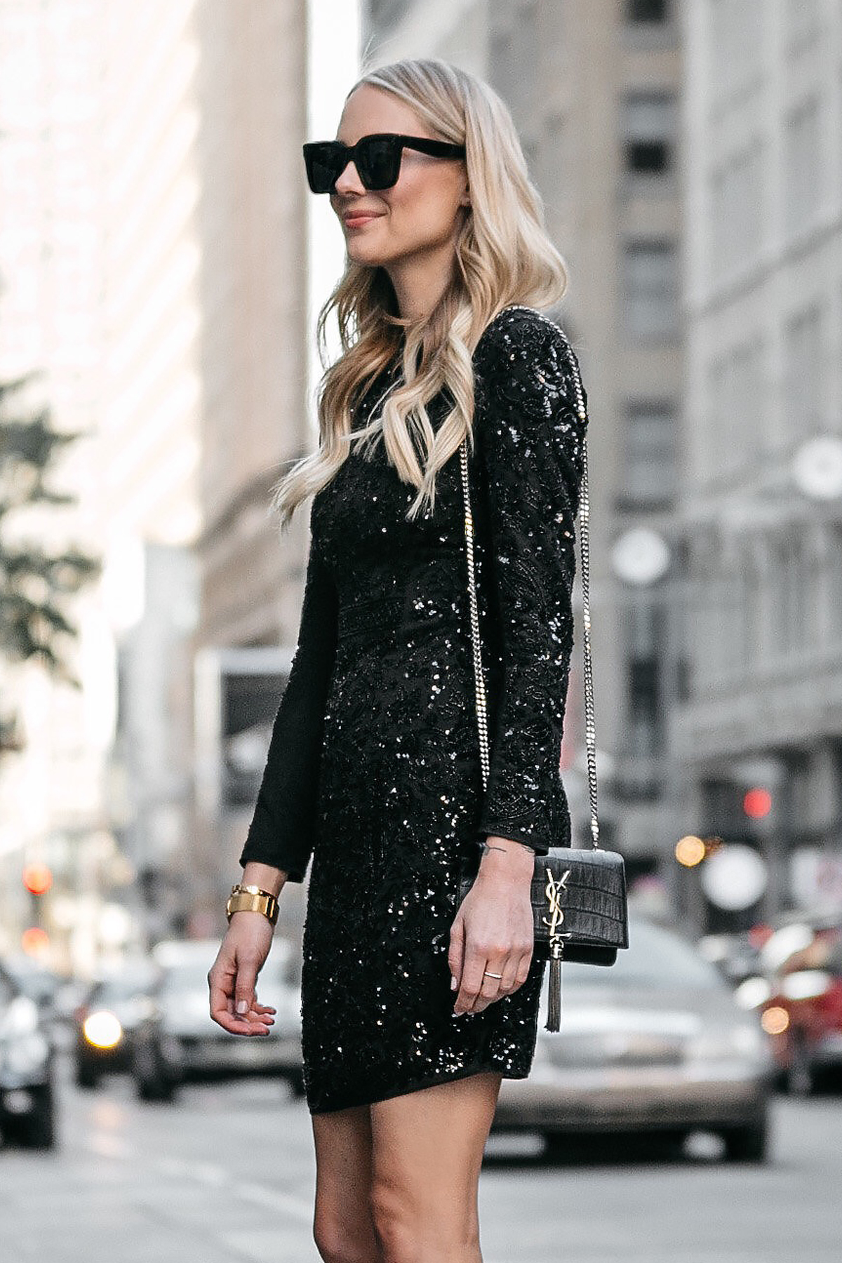 Blonde Woman Wearing Long Sleeve Black Sequin Dress Needle and Thread YSL Black Crocodile Crossbody Fashion Jackson Dallas Blogger Fashion Blogger Street Style NYE Outfit