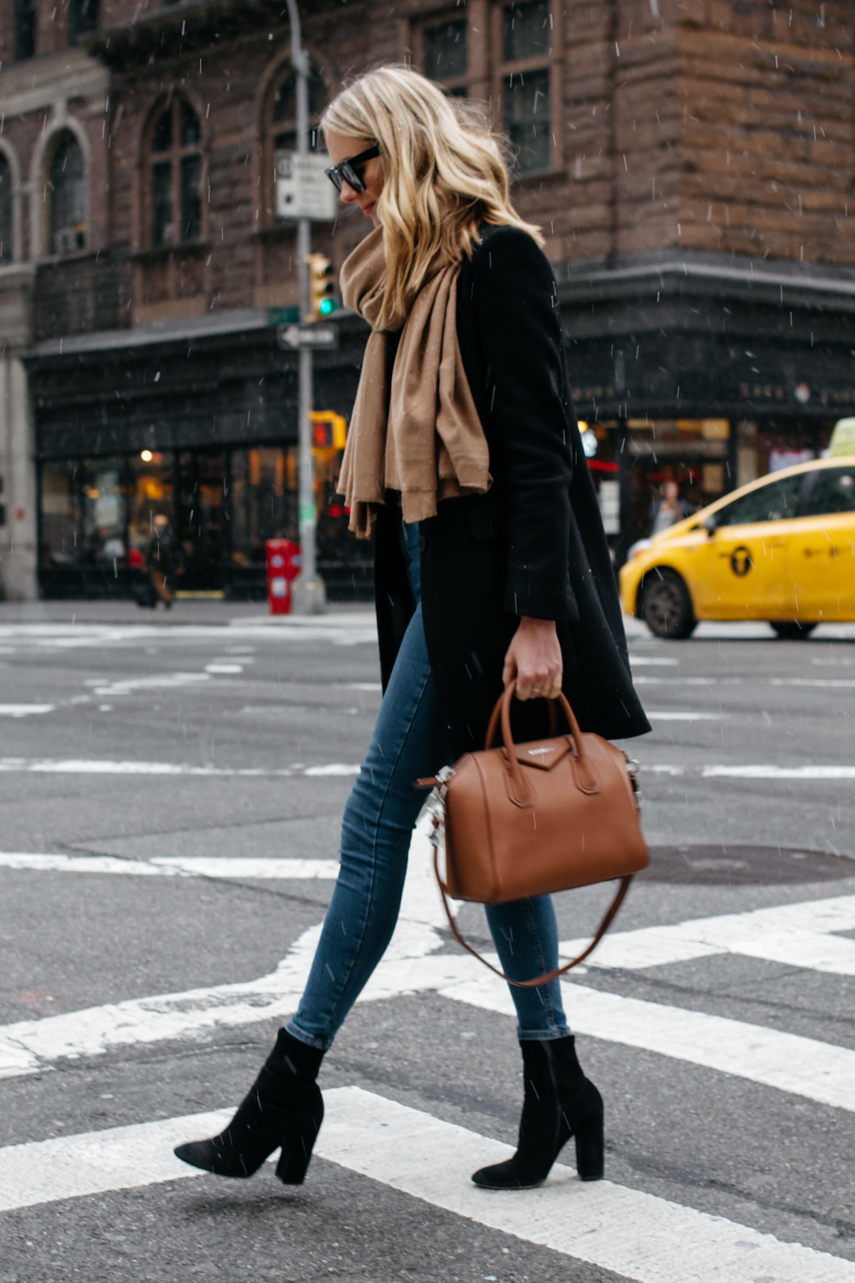 Blonde Woman Wearing Tan Scarf Black Wool Coat Denim Skinny Jeans Black Booties Givenchy Antigona Satchel Fashion Jackson Dallas Blogger Fashion Blogger Street Style NYC