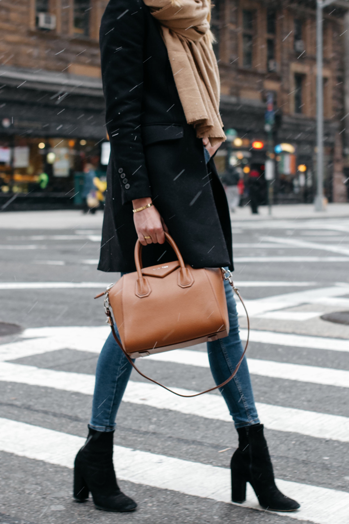 Tan Scarf Black Wool Coat Denim Skinny Jeans Black Booties Givenchy Antigona Satchel Cognac Fashion Jackson Dallas Blogger Fashion Blogger Street Style NYC