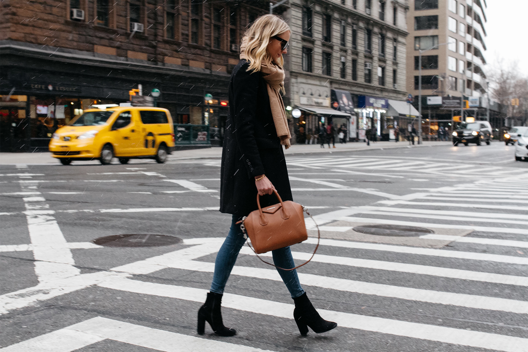 Blonde Woman Wearing Tan Scarf Black Wool Coat Denim Skinny Jeans Black Booties Givenchy Antigona Satchel Fashion Jackson Dallas Blogger Fashion Blogger Street Style