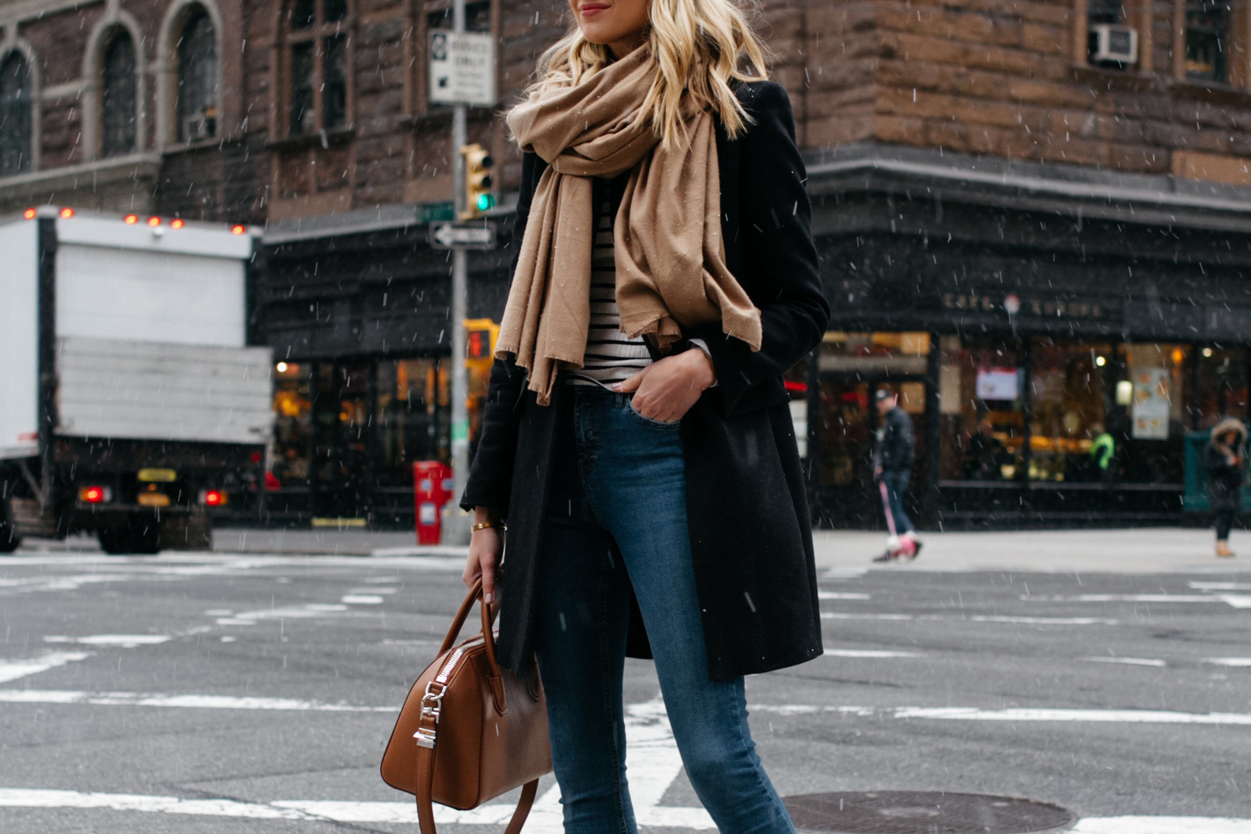 Blonde Woman Wearing Tan Scarf Black Wool Coat Striped Top Denim Skinny Jeans Givenchy Antigona Satchel Fashion Jackson Dallas Blogger Fashion Blogger Street Style NYC