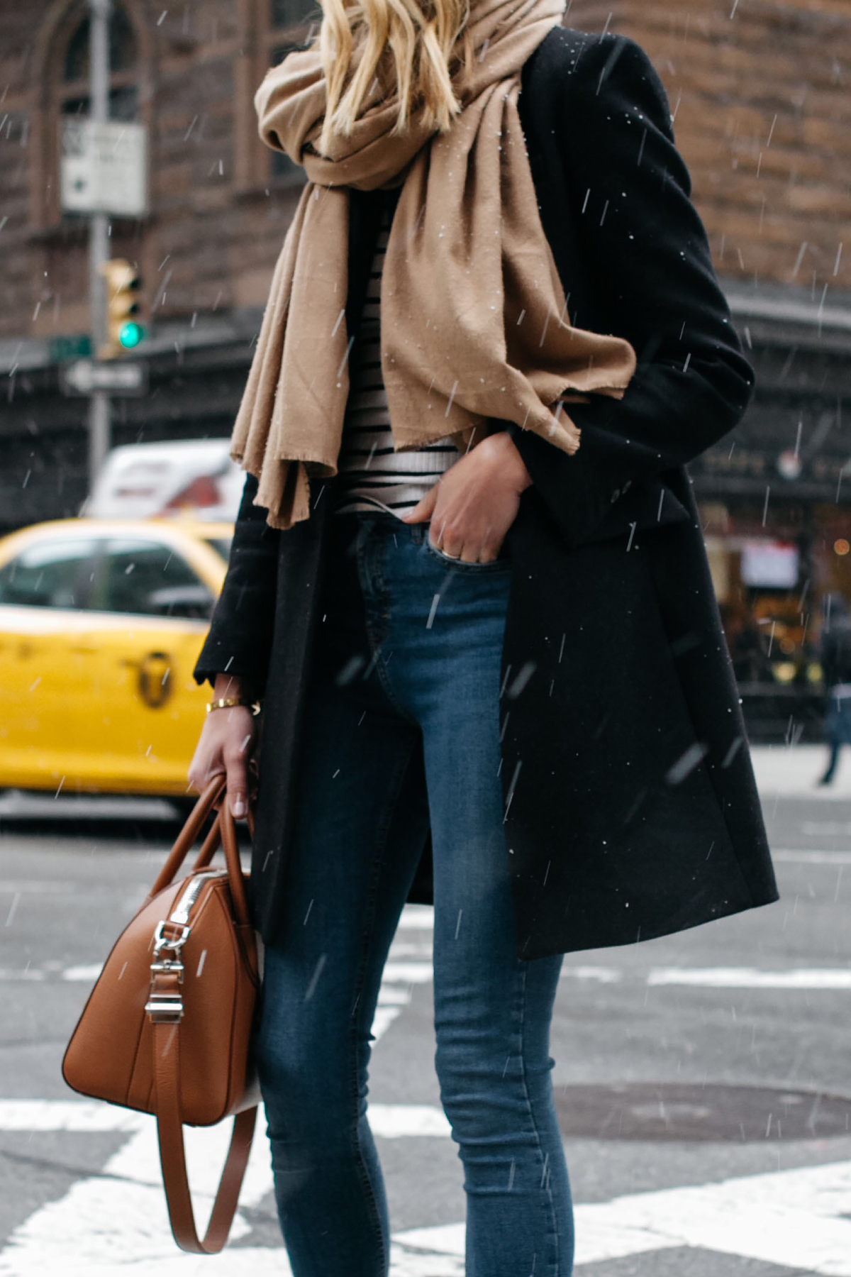 Tan Scarf Black Wool Coat Striped Top Denim Skinny Jeans Fashion Jackson Dallas Blogger Fashion Blogger Street Style NYC