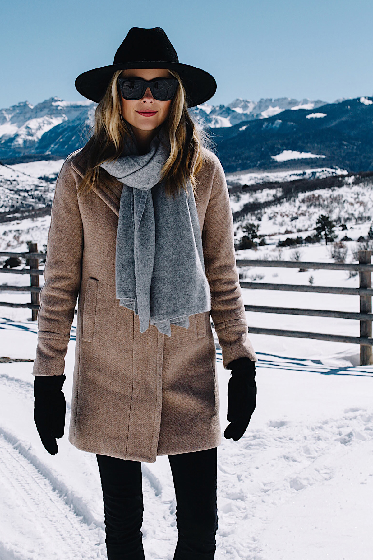 Telluride CO Blonde Woman Wearing Grey Scarf Camel Coat Black Wool Hat Black Gloves Fashion Jackson Dallas Blogger Fashion Blogger
