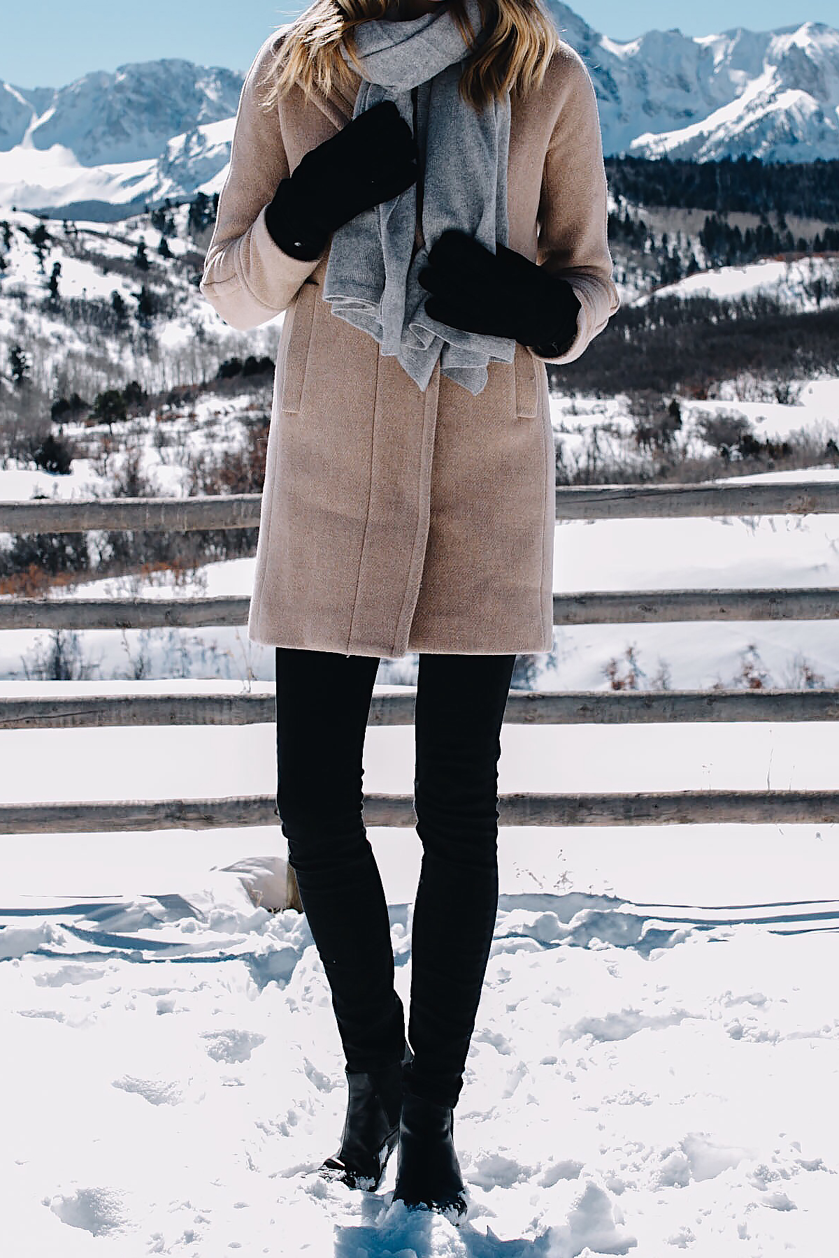 Telluride CO Snow Grey Scarf Woman Wearing Camel Coat Black Skinny Jeans Black Gloves Fashion Jackson Dallas Blogger Fashion Blogger