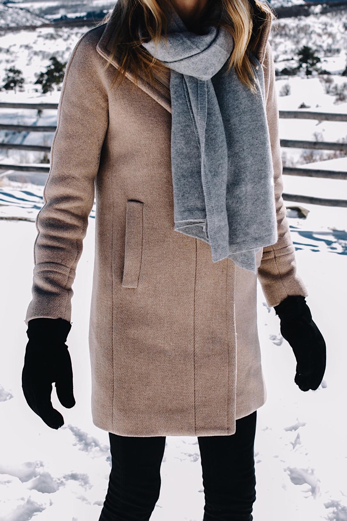Telluride CO Snow Mountains Woman Wearing Grey Scarf Camel Coat Black Gloves Fashion Jackson Dallas Blogger Fashion Blogger