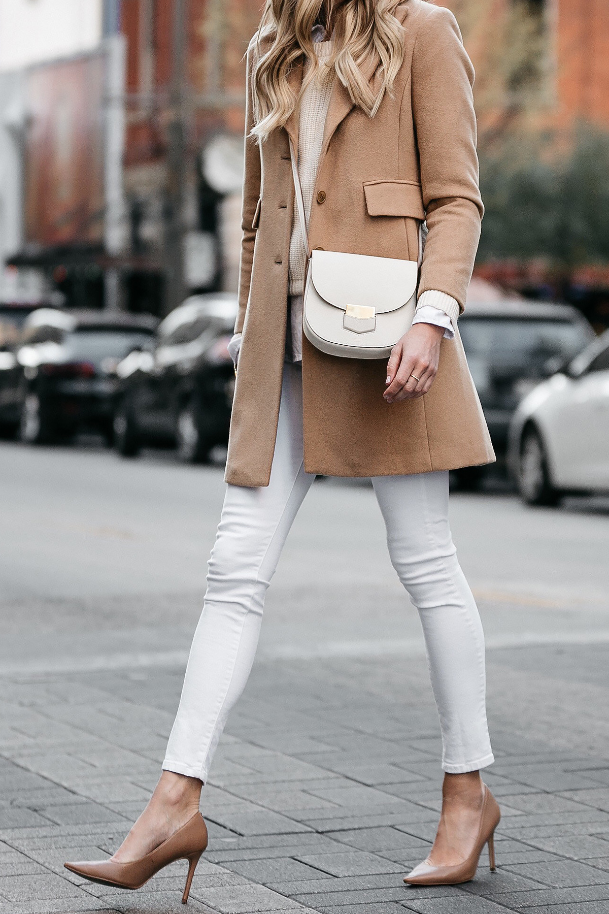 Camel Wool Coat Ivory Sweater White Skinny Jeans Nude Pumps Celine Trotteur White Handbag Fashion Jackson Dallas Blogger Fashion Blogger Street Style