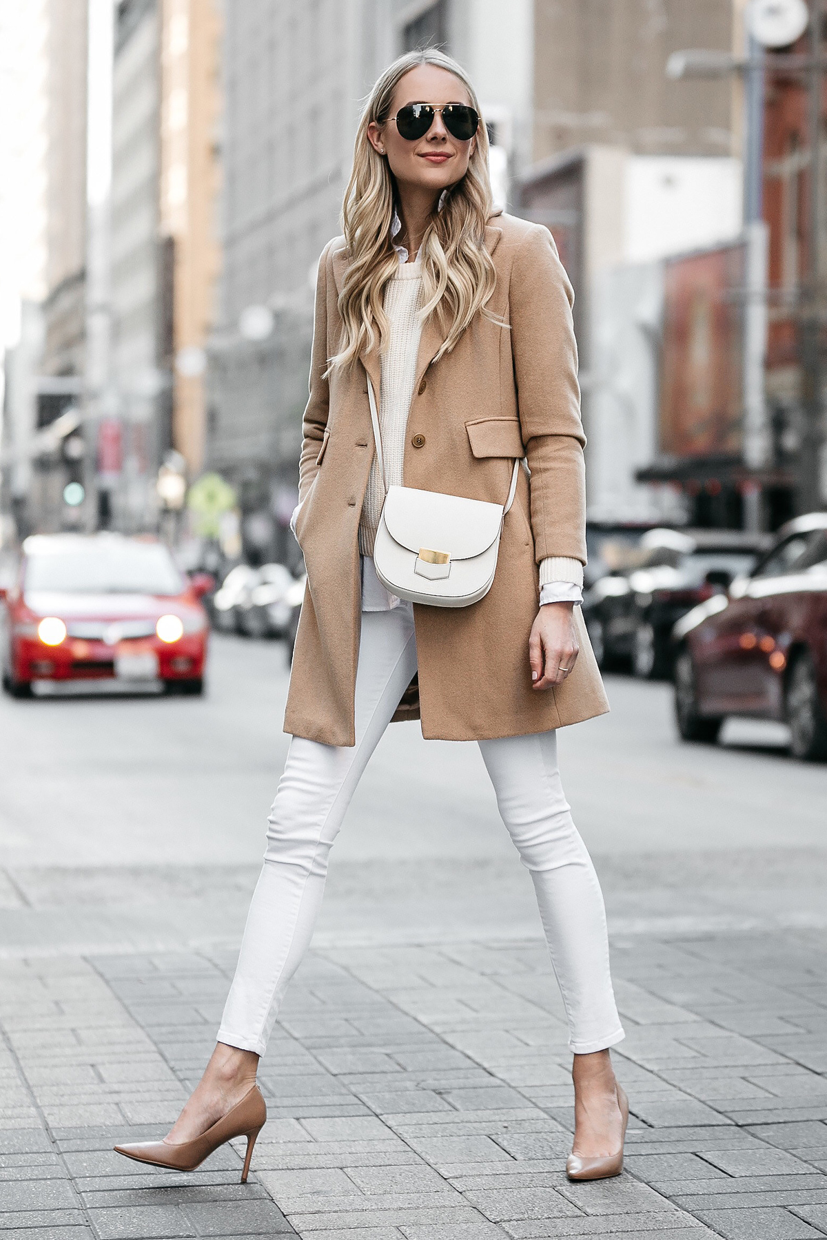 Blonde Woman Wearing Camel Wool Coat Ivory Sweater White Skinny Jeans Nude Pumps Celine Trotteur White Handbag Fashion Jackson Dallas Blogger Fashion Blogger Street Style