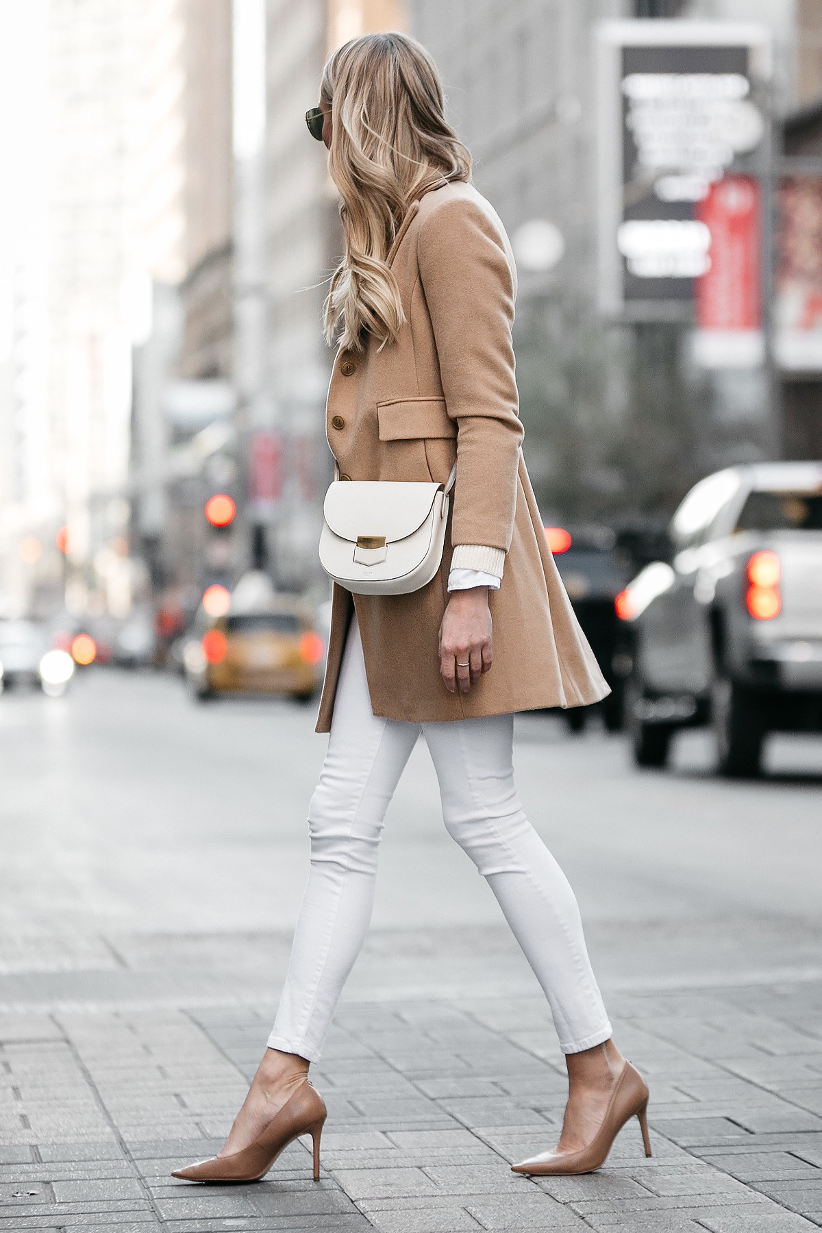 Blonde Woman Wearing Camel Wool Coat White Skinny Jeans Nude Pumps Celine Trotteur White Handbag Fashion Jackson Dallas Blogger Fashion Blogger Street Style