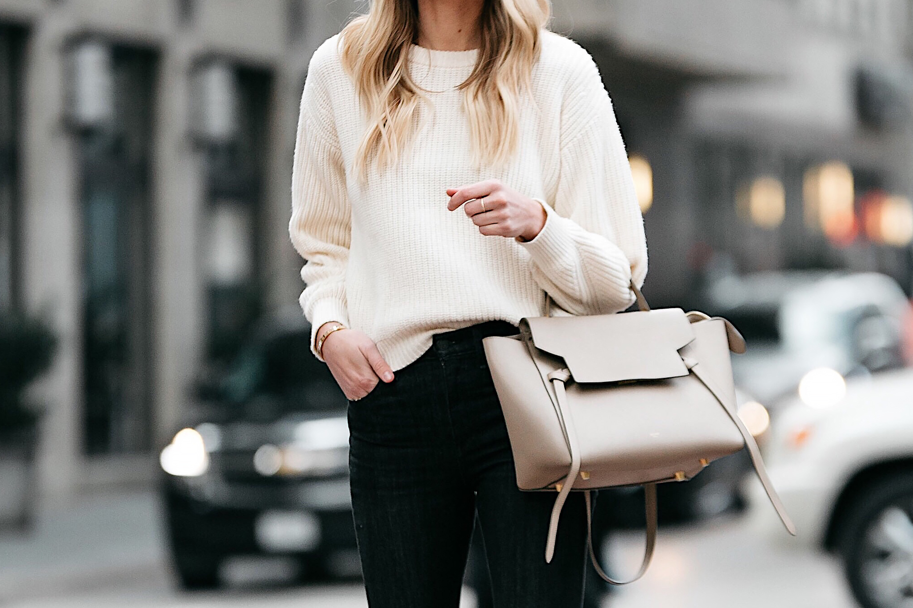 Blonde Woman Wearing Jcrew Off White Oversized Sweater Celine Mini Belt Bag Fashion Jackson Dallas Blogger Fashion Blogger Street Style