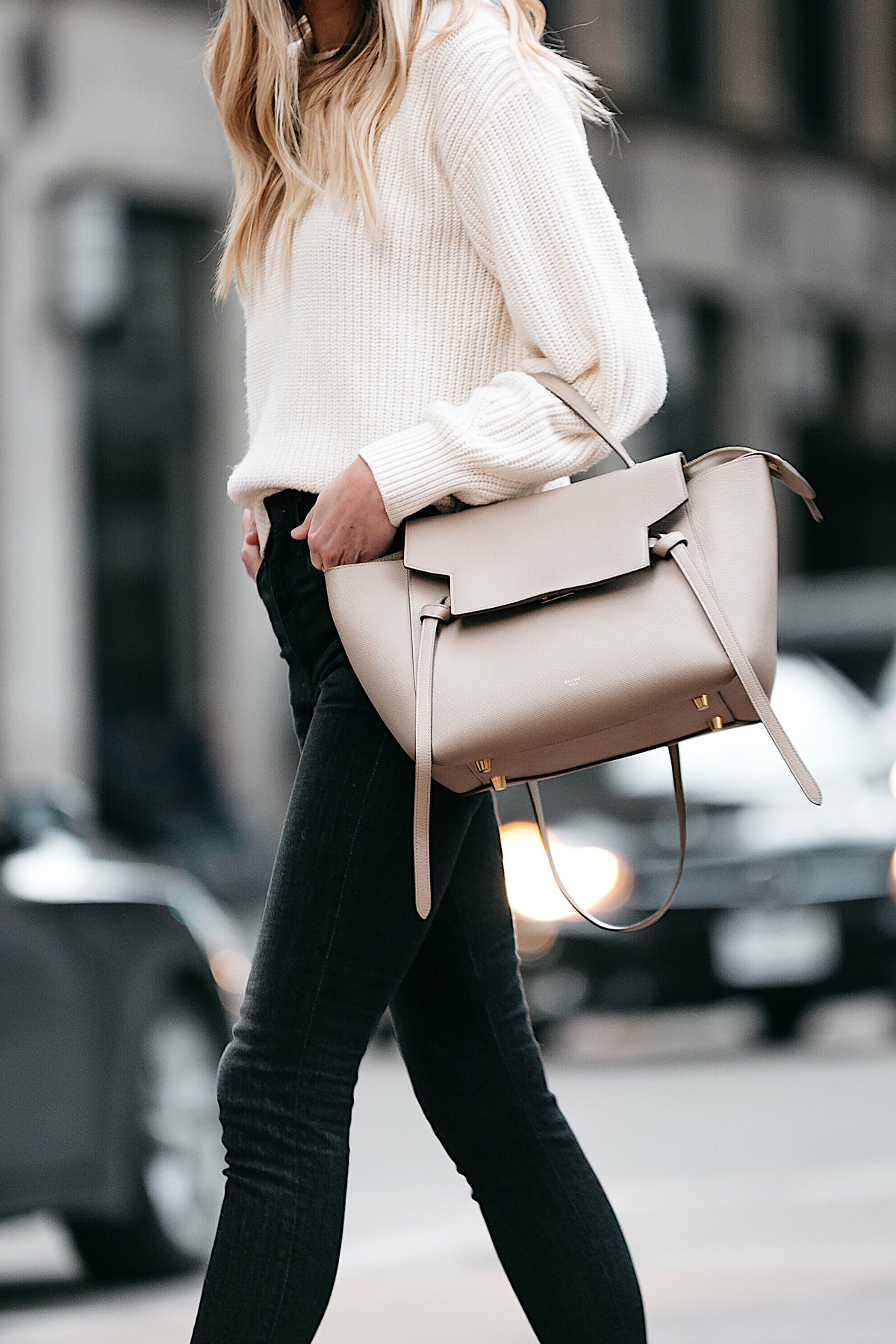 Blonde Woman Wearing Jcrew Off White Oversized Sweater Rag and Bone Black Skinny Jeans Celine Mini Belt Bag Fashion Jackson Dallas Blogger Fashion Blogger Street Style