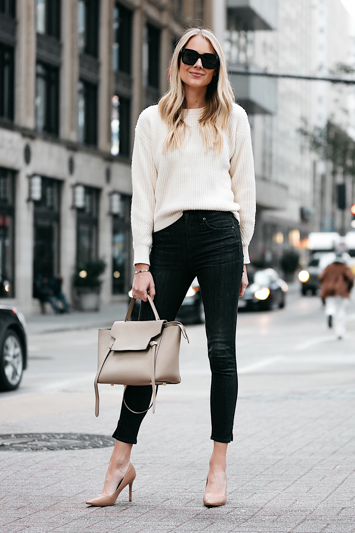 Blonde Woman Wearing Jcrew Off White Oversized Sweater Rag and Bone Black Skinny Jeans Nude Pumps Celine Mini Belt Bag Fashion Jackson Dallas Blogger Fashion Blogger Street Style