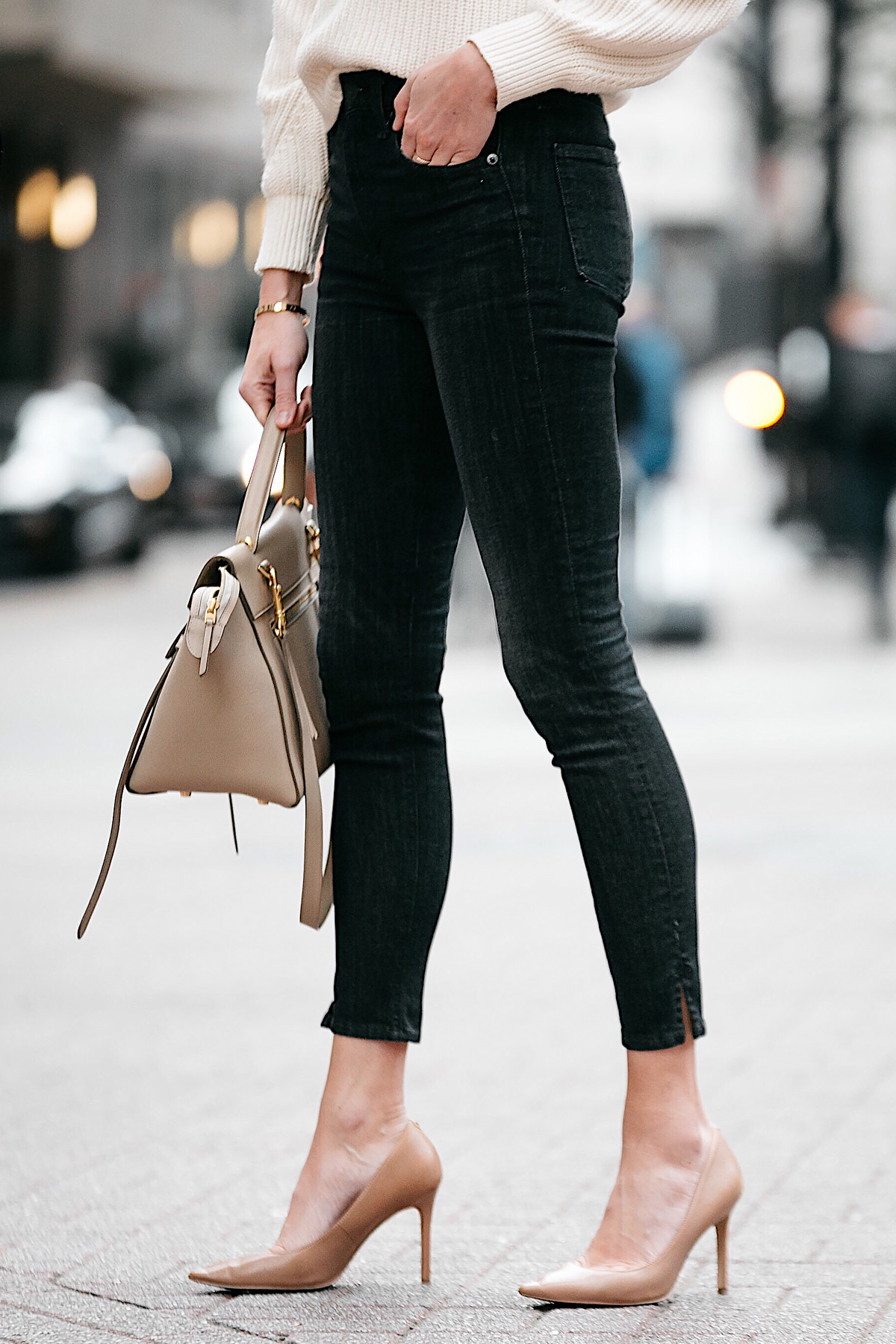 Woman Wearing Rag and Bone Black Skinny Jeans Nude Pumps Fashion Jackson Dallas Blogger Fashion Blogger Street Style