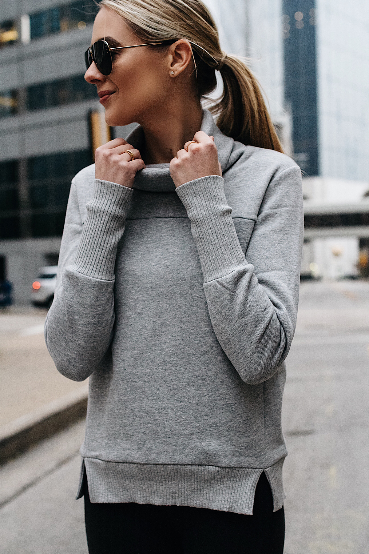 Blonde Woman Wearing Alo Grey Funnel Neck Sweatshirt Fashion Jackson Dallas Blogger Fashion Blogger Street Style Athletic Workout Apparel