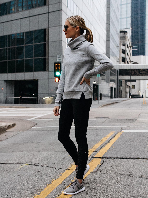 b234c6c16a09c Blonde Woman Wearing Alo Grey Funnel Neck Sweatshirt Alo Black Moto Leggings  Nike Roshe Two Knit