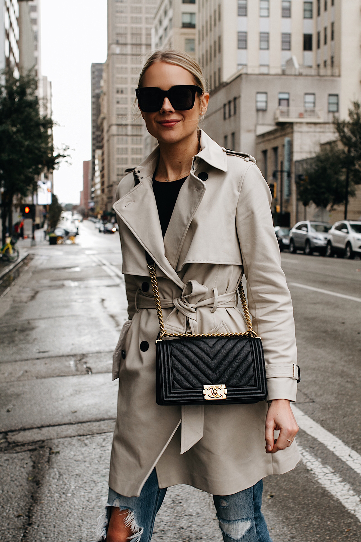 Blonde Woman Wearing Club Monaco Trench Coat Chanel Black Boy Bag Chevron Fashion Jackson Dallas Blogger Fashion Blogger Street Style