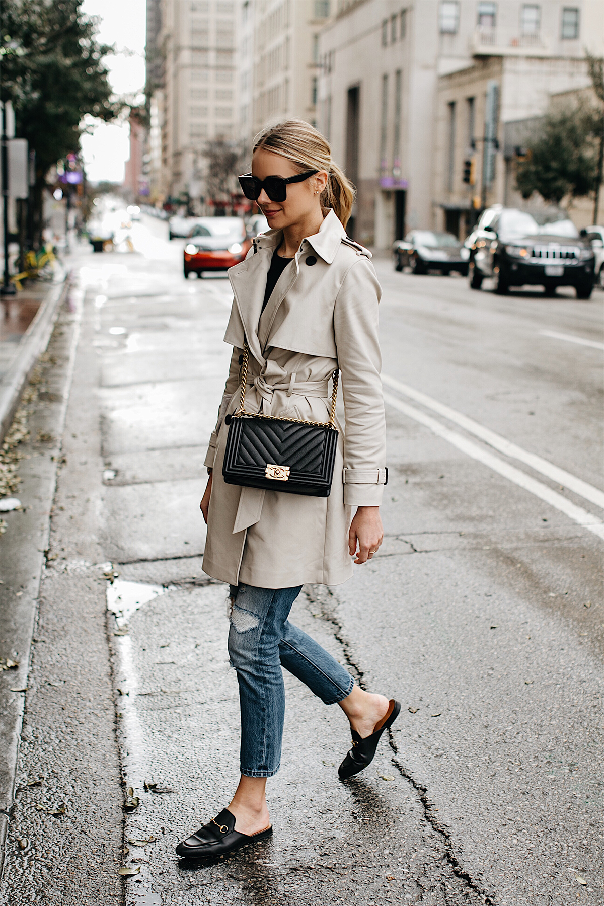 Blonde Woman Wearing Club Monaco Trench Coat Levis Ripped Jeans Gucci Black Princetown Mules Chanel Black Boy Bag Chevron Fashion Jackson Dallas Blogger Fashion Blogger Street Style