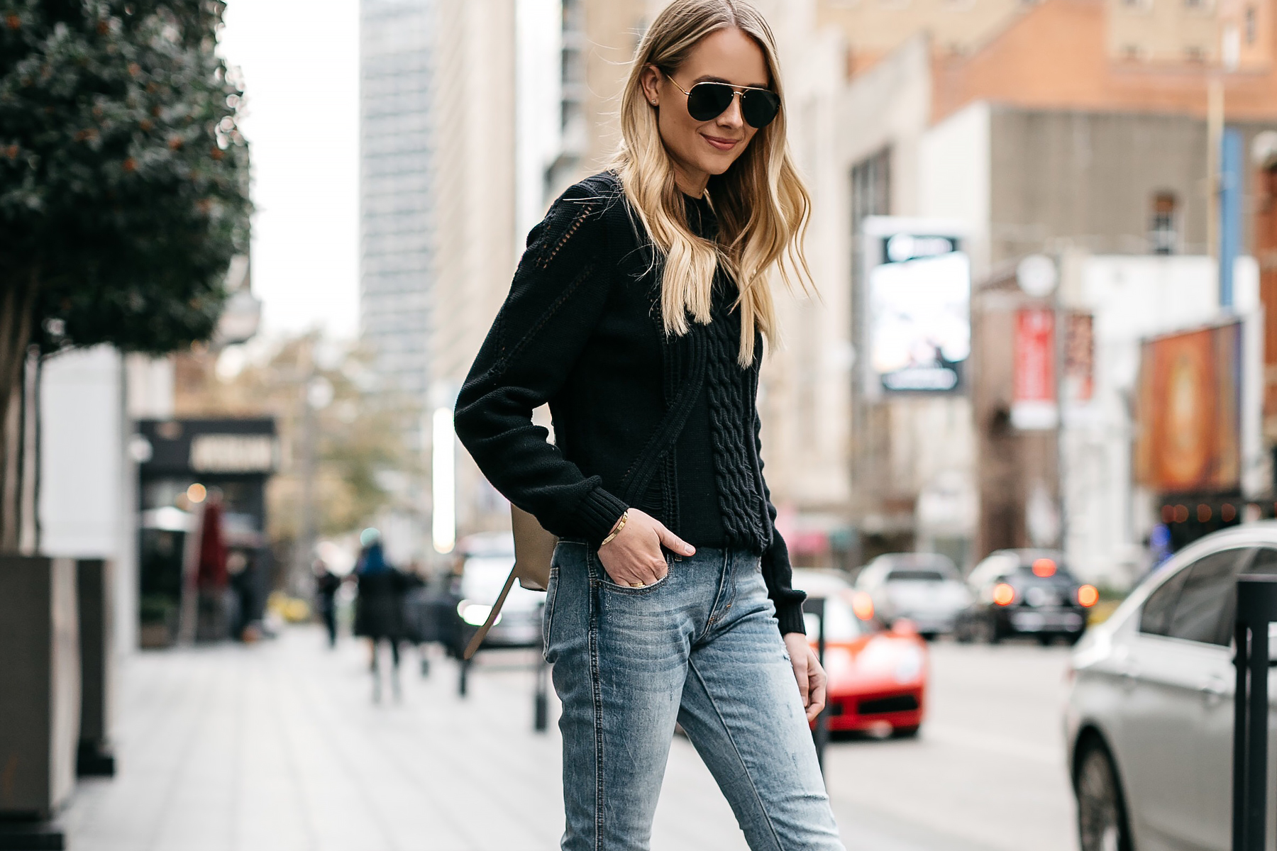 Blonde Woman Wearing Frame Black Cable Knit Sweater Denim Jeans Celine Aviator Sunglasses Fashion Jackson Dallas Blogger Fashion Blogger Street Style