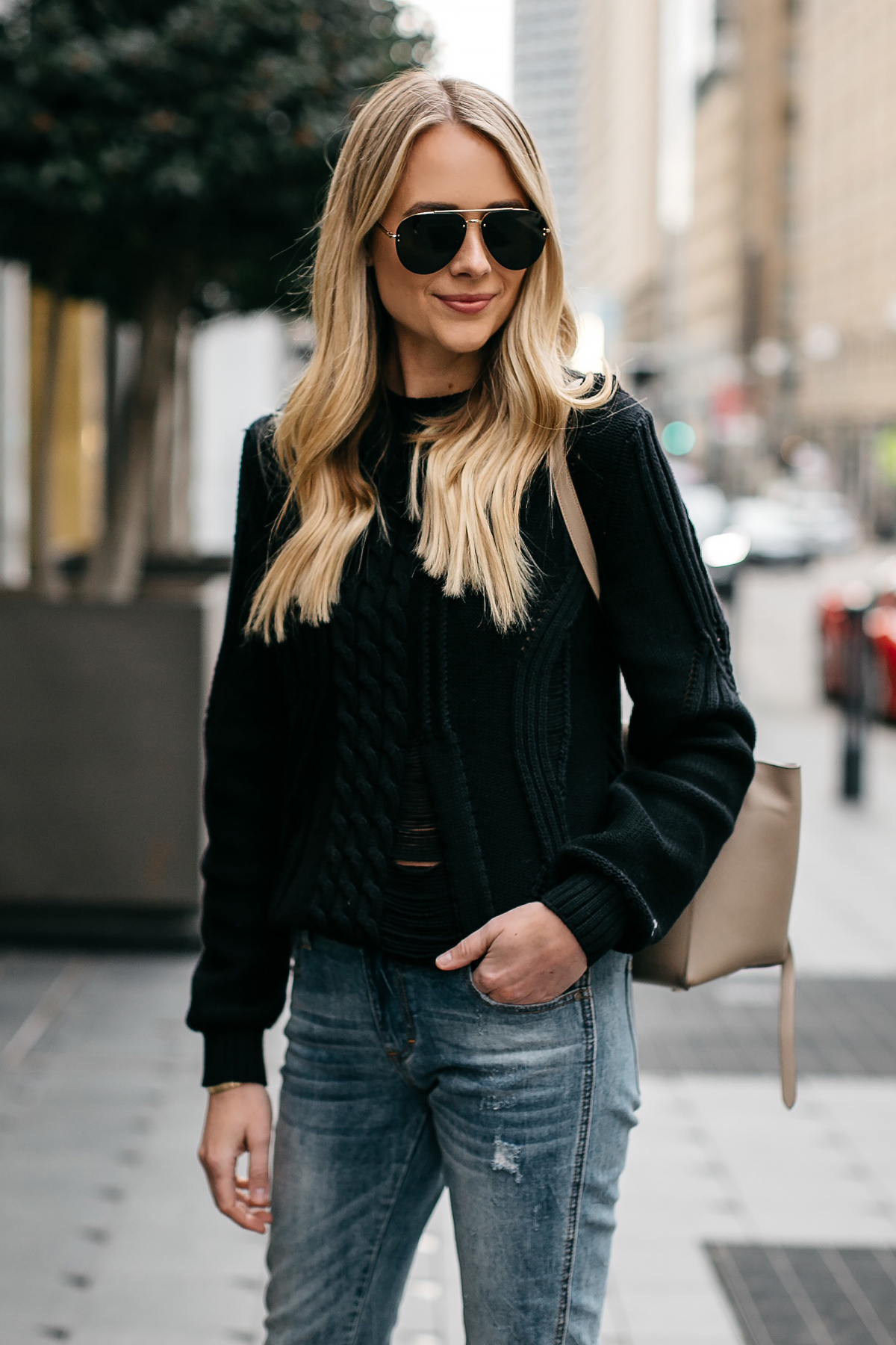 Blonde Woman Wearing Frame Black Cable Knit Sweater Denim Jeans Celine Belt Bag Celine Aviator Sunglasses Fashion Jackson Dallas Blogger Fashion Blogger Street Style