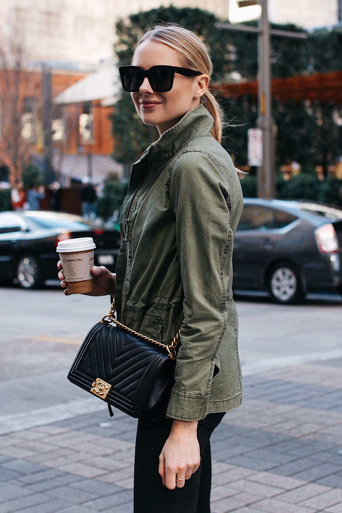 Blonde Woman Wearing Madewell Fleet Jacket Green Jacket Chanel Black Boy Bag Fashion Jackson Dallas Blogger Fashion Blogger Street Style