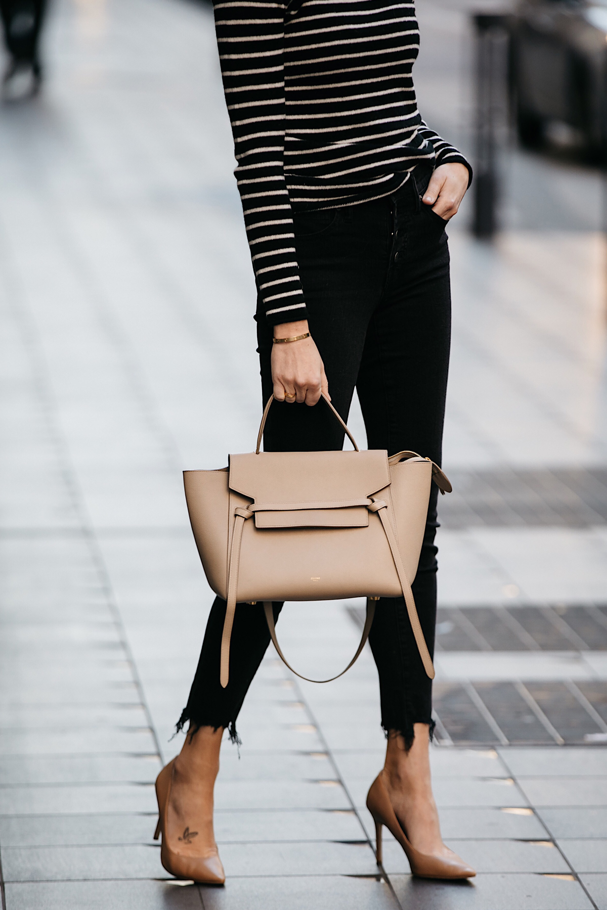 Woman Wearing Nordstrom Black White Striped Sweater Black Skinny Jeans Nude Pumps Celine Mini Belt Bag Fashion Jackson Dallas Blogger Fashion Blogger Street Style