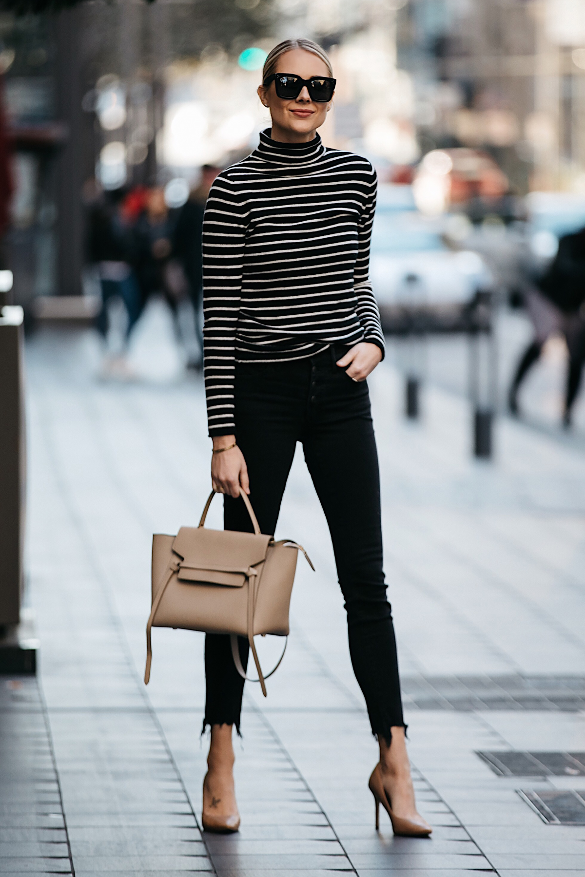 Blonde Woman Wearing Nordstrom Black White Striped Turtleneck Sweater Black Skinny Jeans Nude Pumps Outfit Celine Mini Belt Bag Fashion Jackson Dallas Blogger Fashion Blogger Street Style