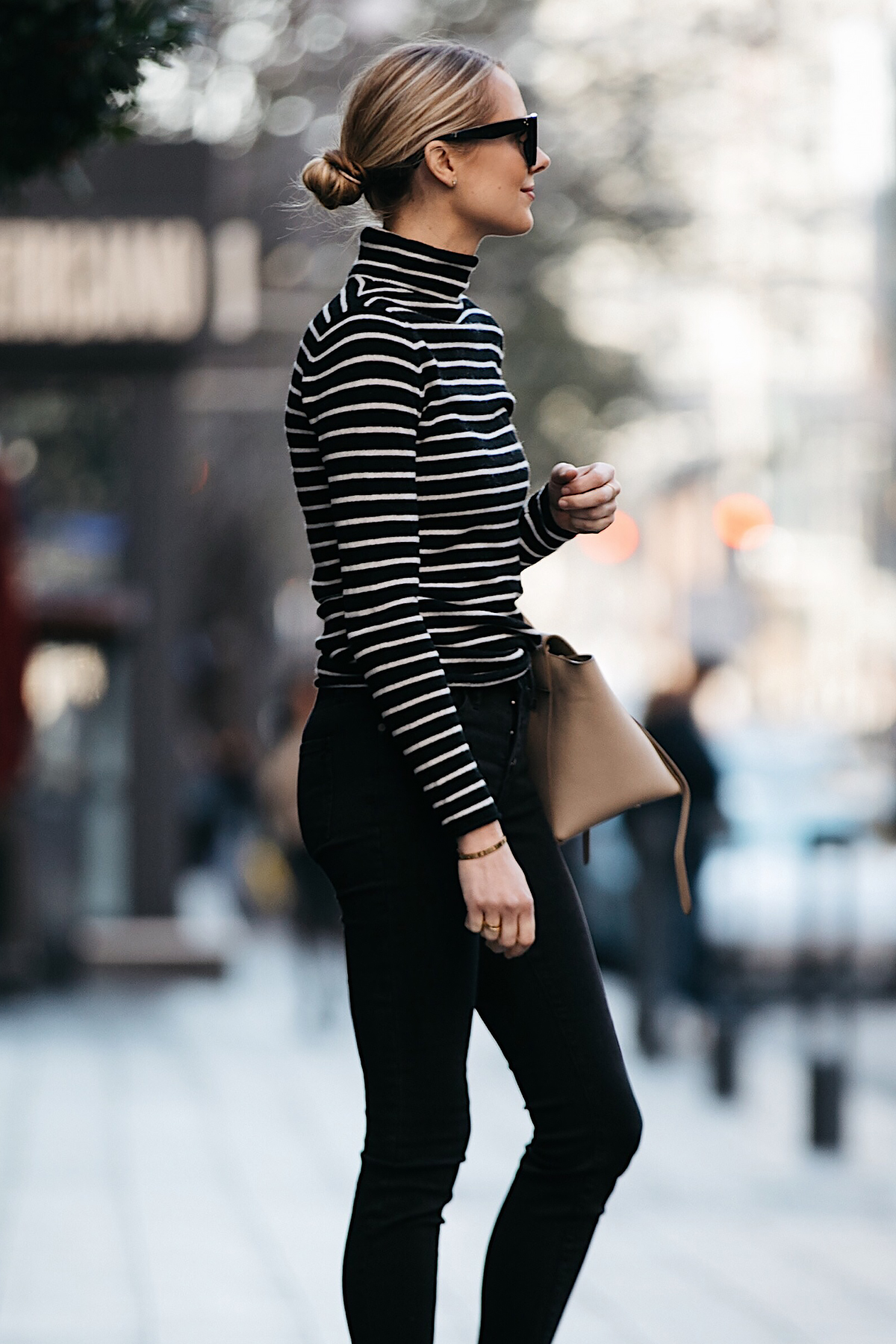 Blonde Woman Wearing Nordstrom Black White Striped Turtleneck Sweater Black Skinny Jeans Outfit Fashion Jackson Dallas Blogger Fashion Blogger Street Style