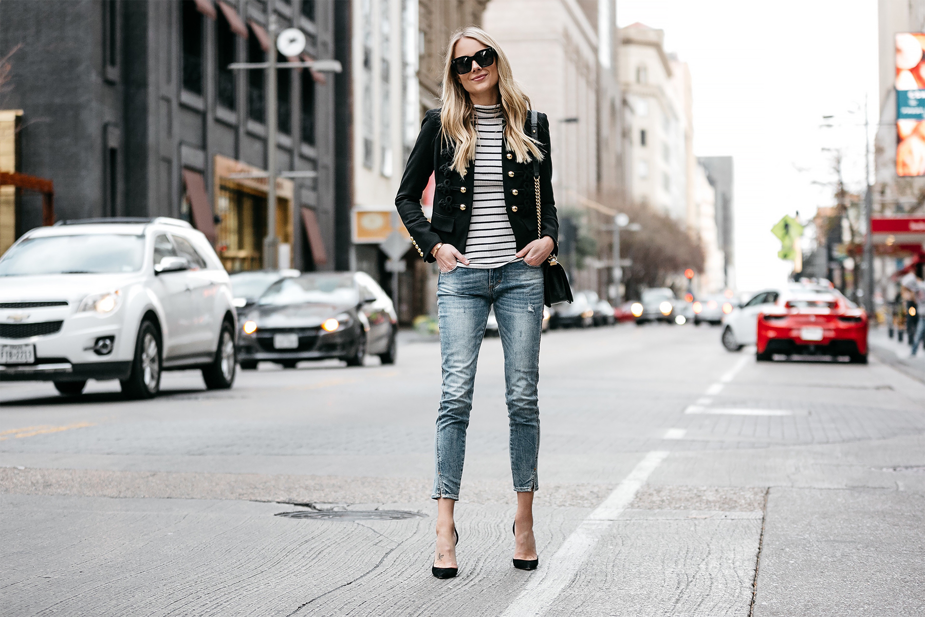 Blonde Woman Wearing Veronica Beard June Band Jacket Black White Striped Turtleneck Nordstrom Denim Skinny Jeans Outfit Christian Louboutin Black Pumps Fashion Jackson Dallas Blogger Fashion Blogger Street Style