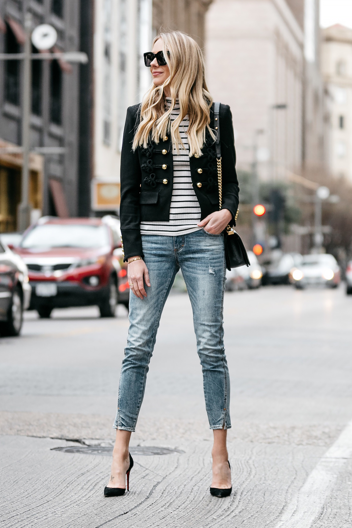 Blonde Woman Wearing Veronica Beard June Band Jacket Black White Striped Turtleneck Nordstrom Denim Skinny Jeans Christian Louboutin Black Pumps Fashion Jackson Dallas Blogger Fashion Blogger Street Style