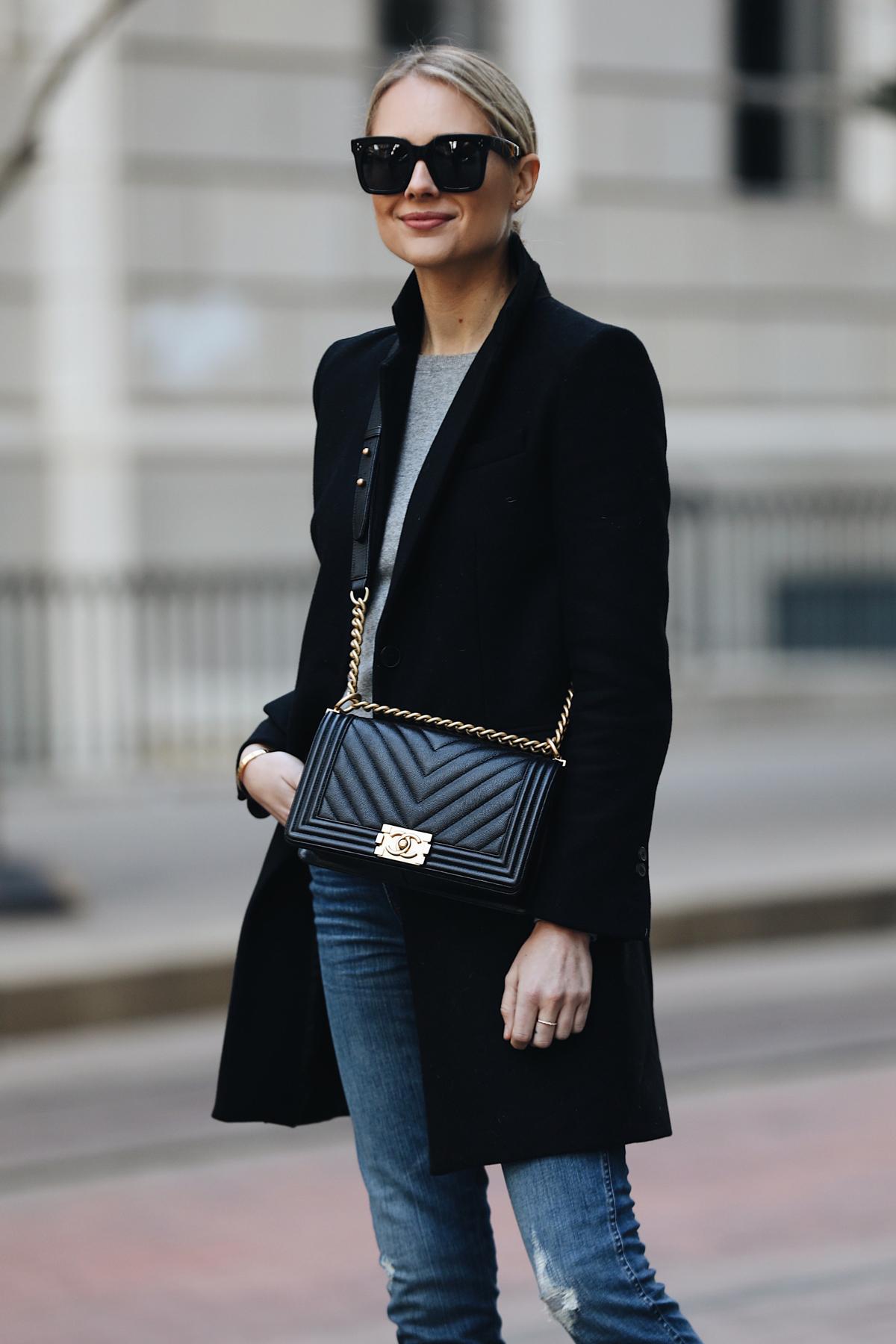 Blonde Woman Wearing Zara Black Wool Coat Grey Sweater Chanel Black Boy Bag Fashion Jackson Dallas Blogger Fashion Blogger Street Style