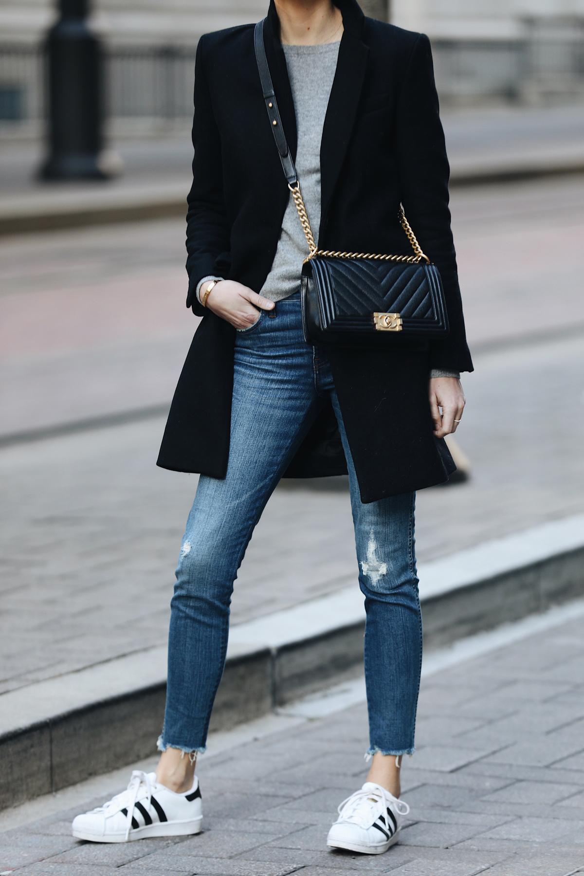 Woman Wearing Zara Black Wool Coat Grey Sweater Madewell Denim Jeans adidas superstar sneakers Chanel Black Boy Bag Fashion Jackson Dallas Blogger Fashion Blogger Street Style