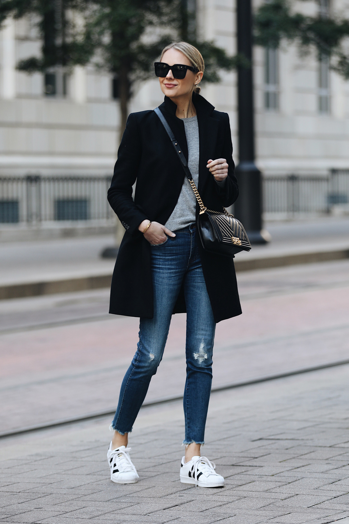 f818436ff057 Blonde Woman Wearing Zara Black Wool Coat Grey Sweater Madewell Denim Jeans  adidas superstar sneakers Chanel
