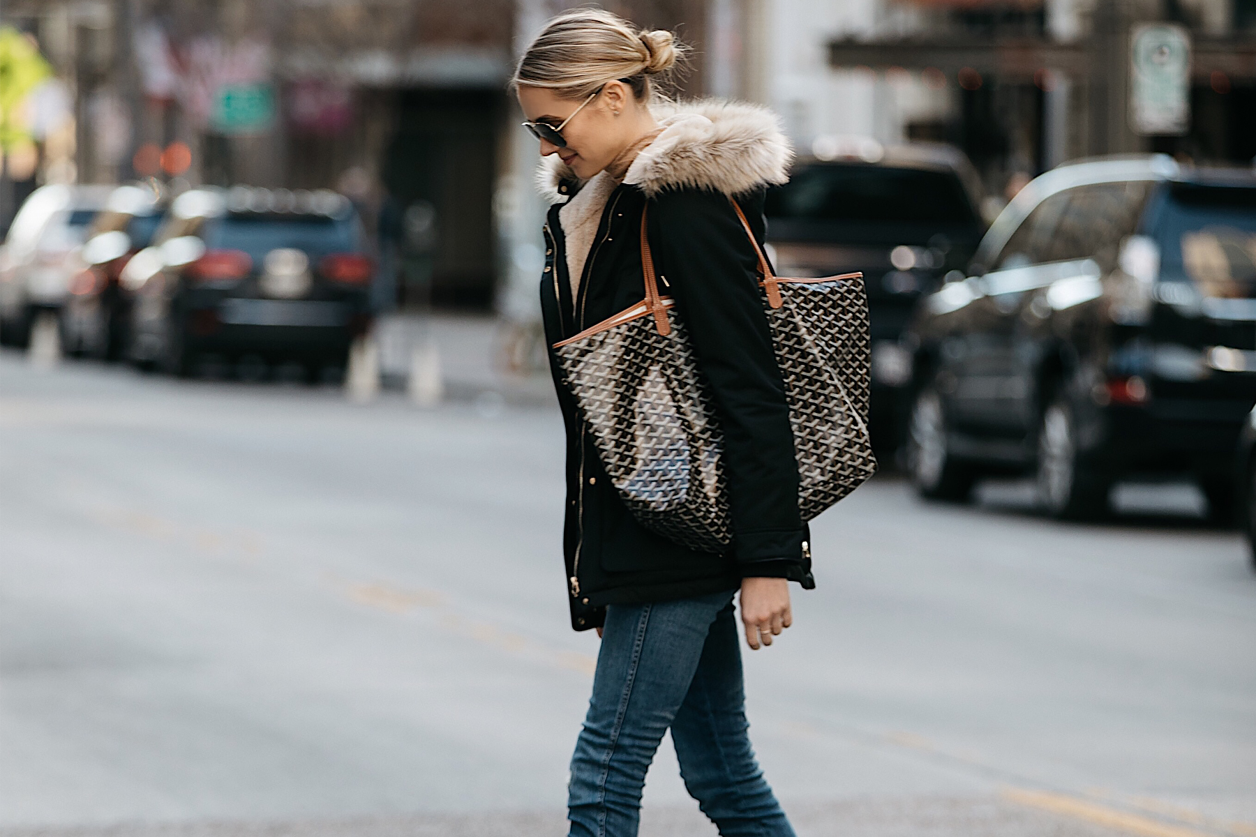 Blonde Woman Wearing Zara Faux Fur Trimmed Black Parka Goyard Tote Fashion Jackson Dallas Blogger Fashion Blogger Street Style