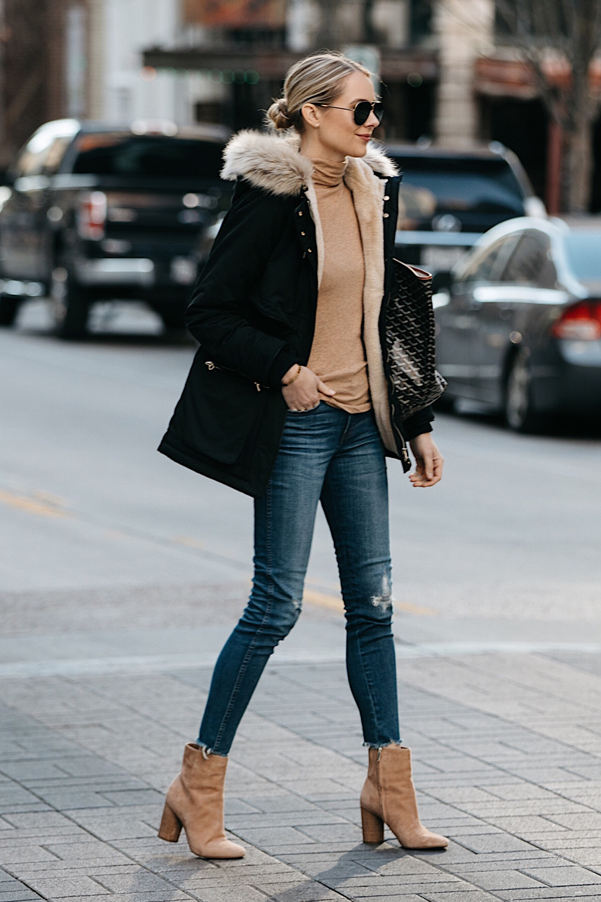 Blonde Woman Wearing Zara Faux Fur Trimmed Black Parka Jacket Denim Jeans Tan Turtleneck Sam Edelman Corra Booties Fashion Jackson Dallas Blogger Fashion Blogger Street Style
