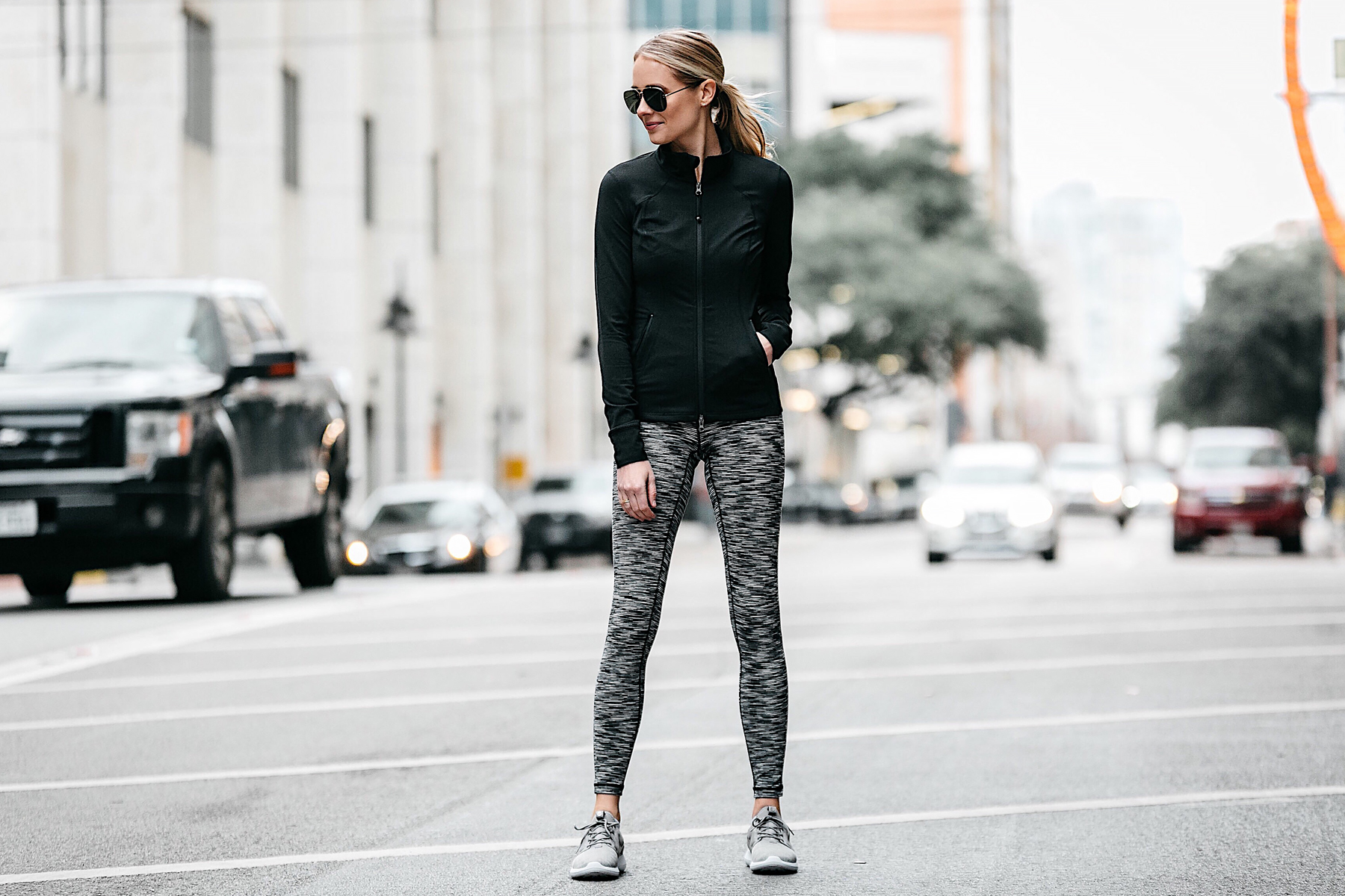 Blonde Woman Wearing Zella Black Zip Up Jacket Zella Black White Leggings Nike Roshe Fly Knit Grey Sneakers Workout Outfit Activewear Fashion Jackson Dallas Blogger Fashion Blogger Street Style Workout Outfit Activewear