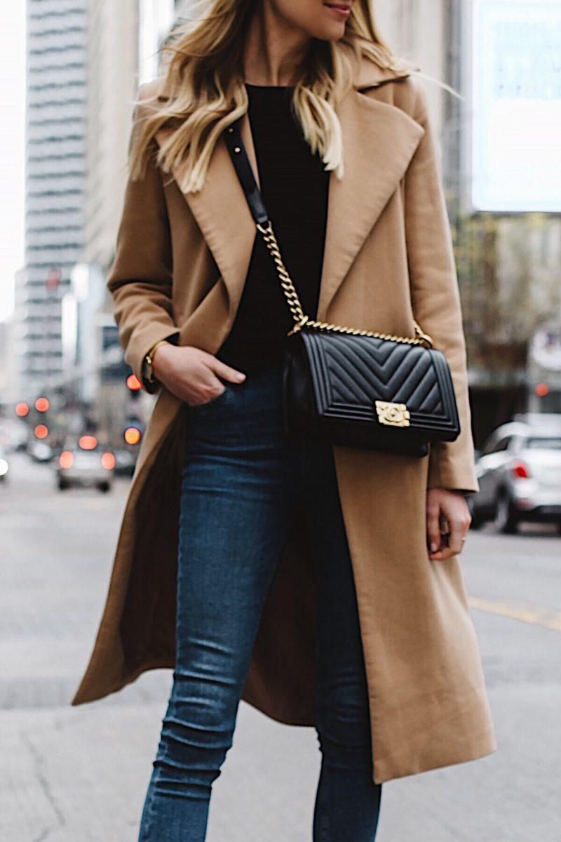 Fashion Jackson Long Camel Coat Black Sweater Topshop Denim Skinny Jeans Chanel Black Boy Bag