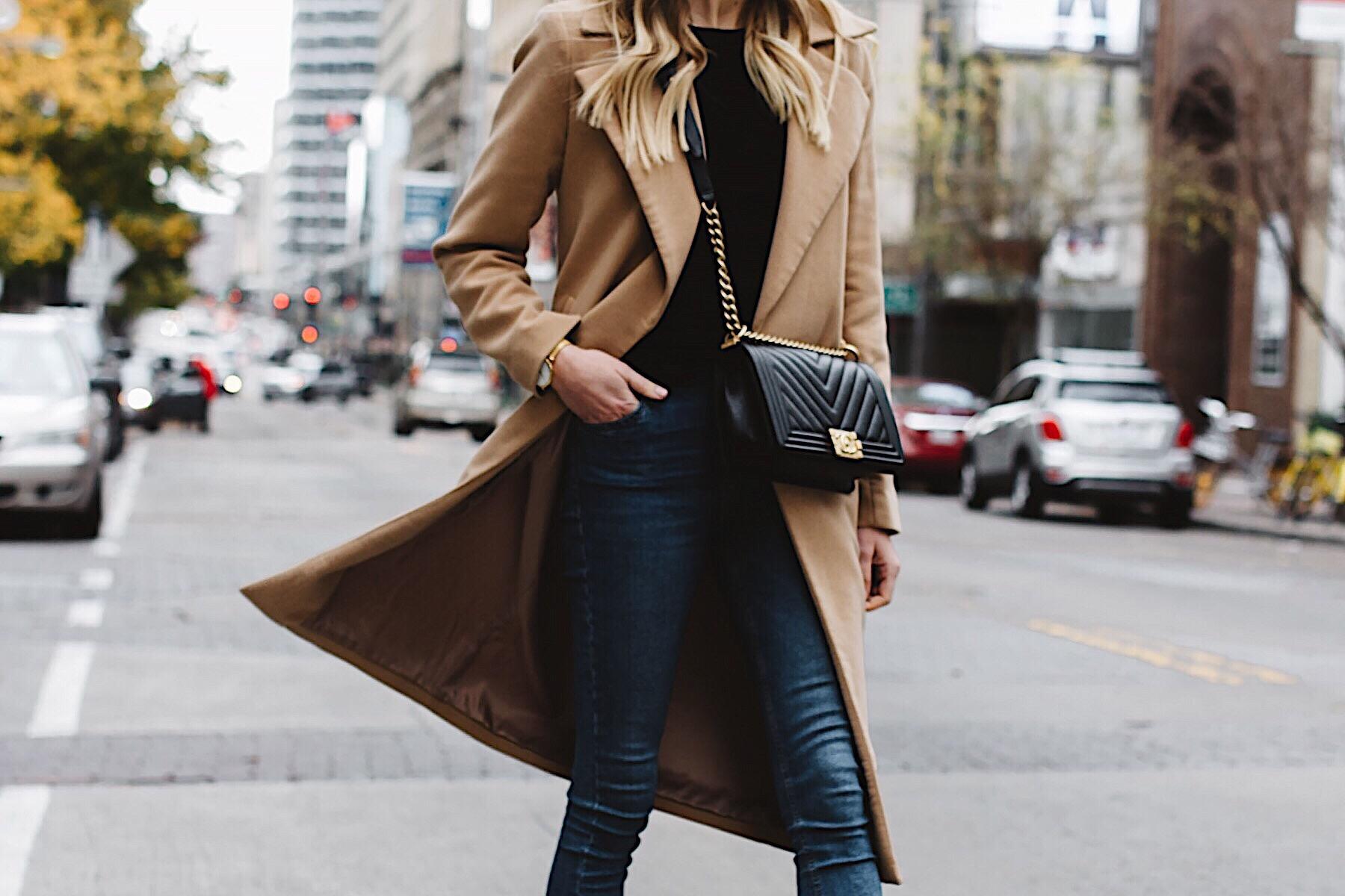 woman wearing long camel coat black sweater topshop denim skinny jeans chanel black boy bag fashion jackson dallas blogger fashion blogger street style