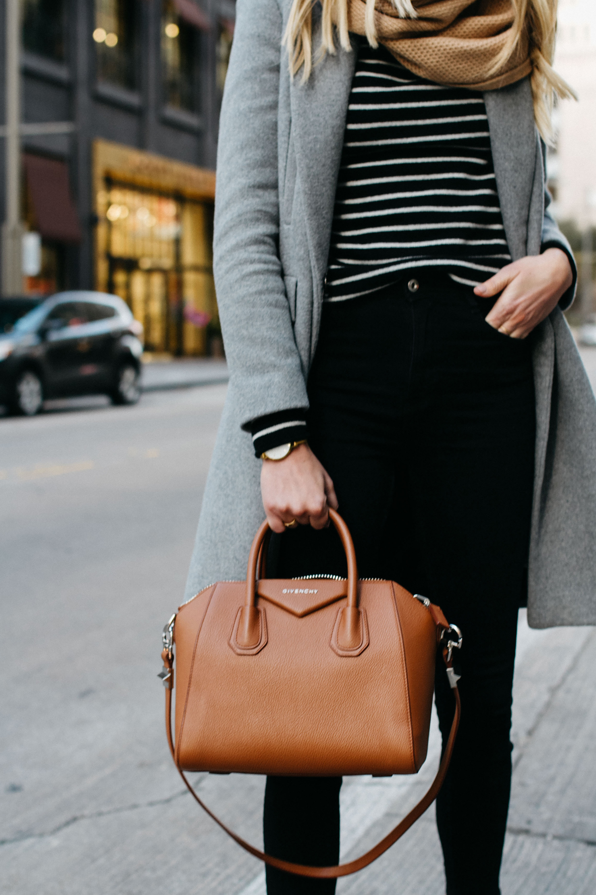blonde woman wearing zara grey wool coat tan scarf black white striped sweater black skinny jeans givenchy cognac antigona satchel fashion jackson dallas blogger fashion blogger street style