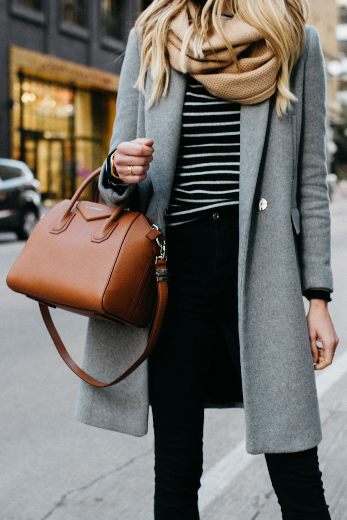 woman wearing zara grey wool coat tan scarf black white striped sweater black skinny jeans givenchy cognac antigona satchel fashion jackson dallas blogger fashion blogger street style