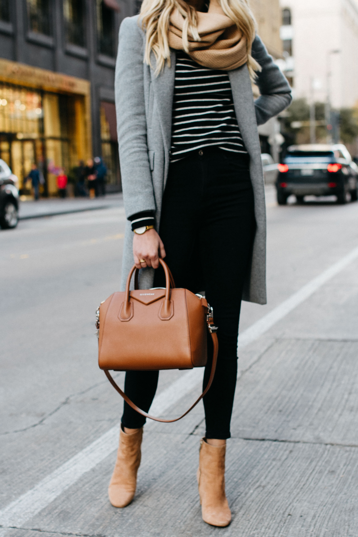 woman wearing zara grey wool coat tan scarf black white striped sweater black skinny jeans sam edelman cora tan booties givenchy cognac antigona satchel fashion jackson dallas blogger fashion blogger street style