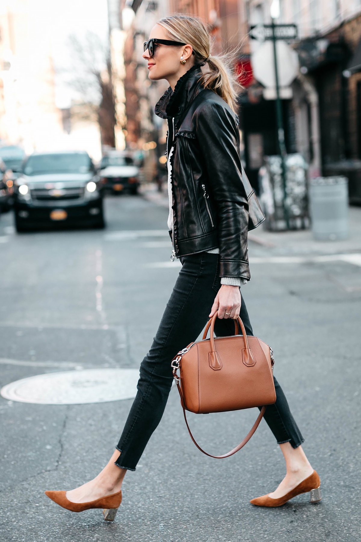 Blonde Woman Wearing Ann Taylor Black Leather Jacket Black Skinny Jeans Tan Pumps Fashion Jackson Dallas Blogger Fashion Blogger Street Style New York Fashion Week