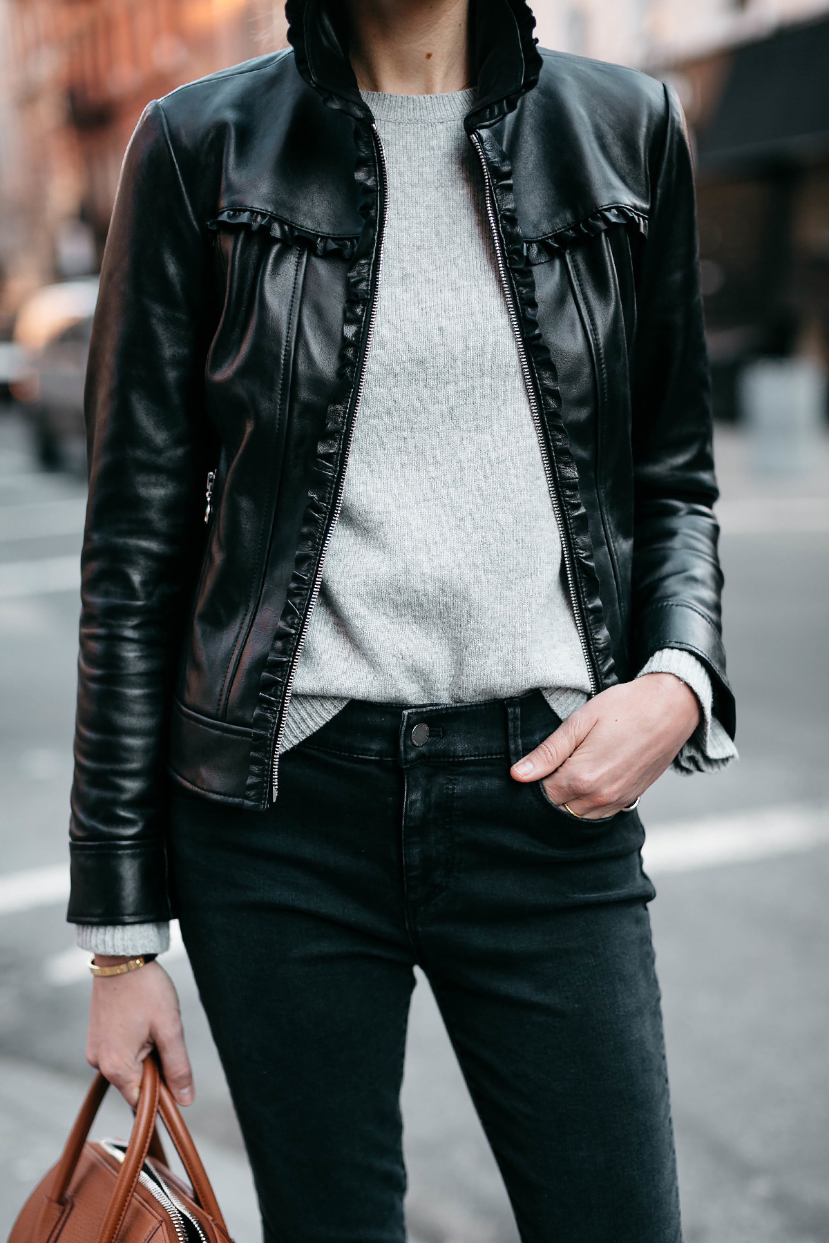Woman Wearing Ann Taylor Black Leather Jacket Grey Sweater Black Skinny Jeans Fashion Jackson Dallas Blogger Fashion Blogger Street Style New York Fashion Week