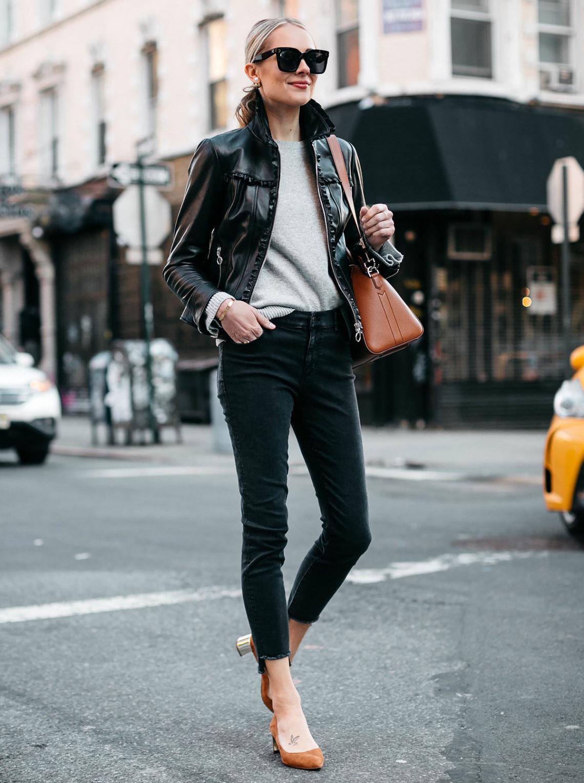 5c0756d13d21 Blonde Woman Wearing Ann Taylor Black Leather Jacket Grey Sweater Black  Skinny Jeans Tan Pumps Fashion