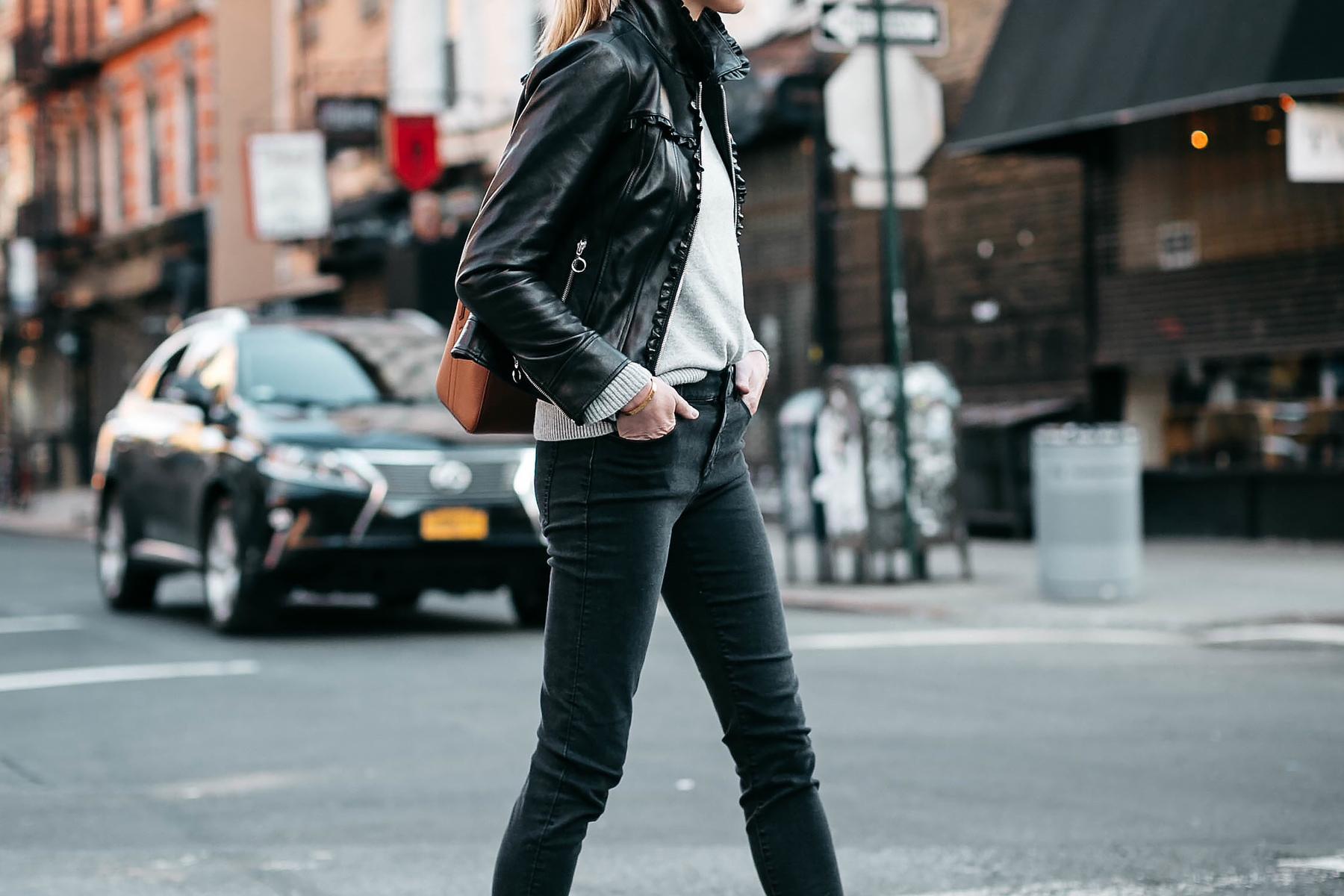 Woman Wearing Ann Taylor Black Leather Jacket Grey Sweater Black Skinny Jeans Fashion Jackson Dallas Blogger Fashion Blogger Street Style New York Fashion Week