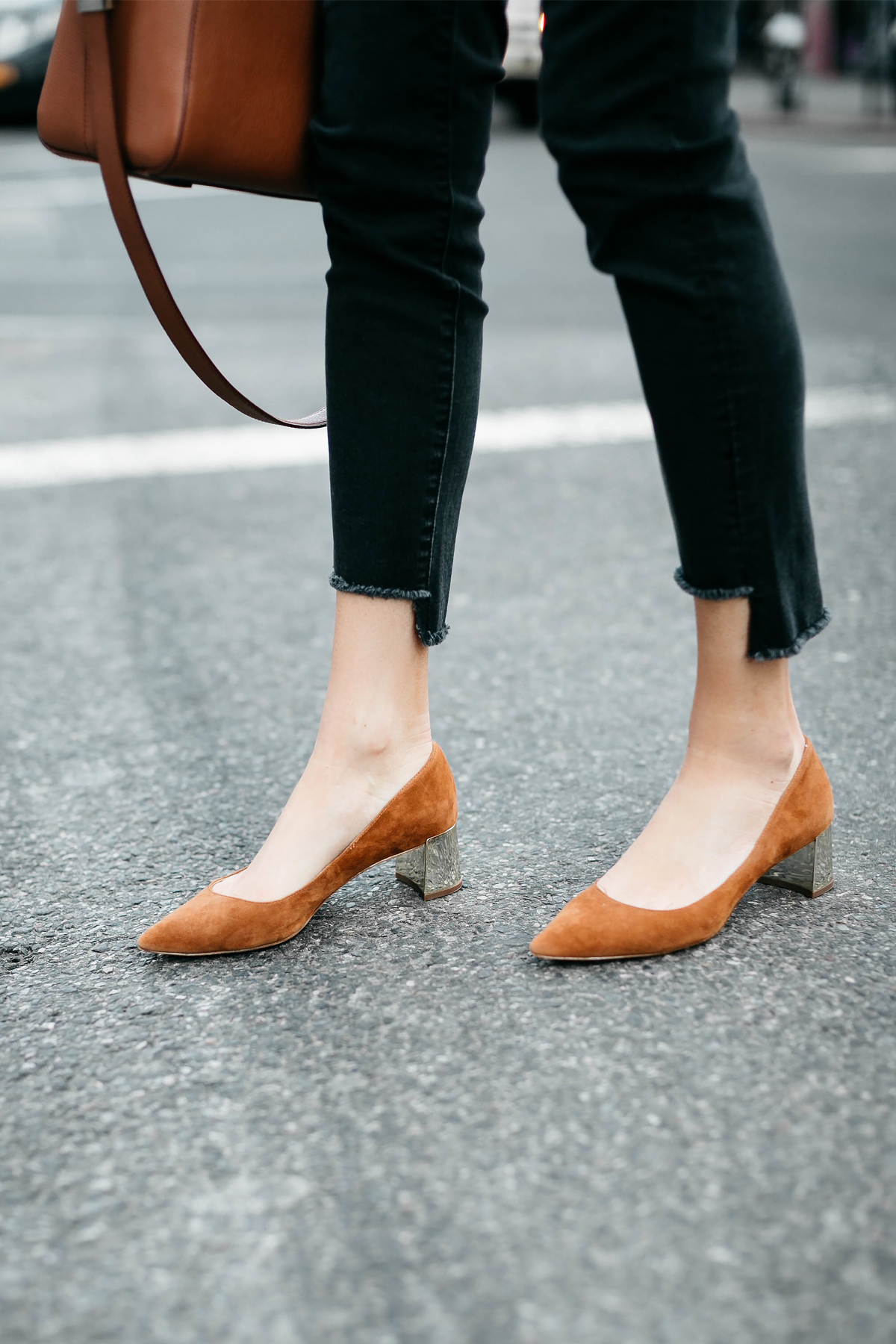 Woman Wearing Ann Taylor Black Step Hem Jeans Tan Suede Pumps Fashion Jackson Dallas Blogger Fashion Blogger Street Style New York Fashion Week