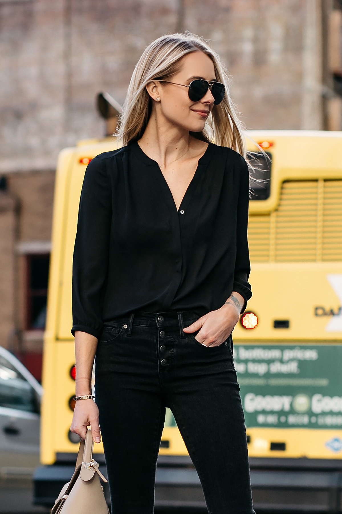 Blonde Woman Wearing Black Shirt Madewell Black Jeans Celine Aviator Sunglasses Fashion Jackson Dallas Blogger Fashion Blogger Street Style