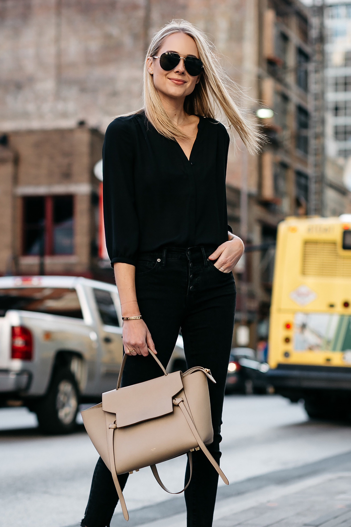 Blonde Woman Wearing Black Shirt Madewell Black Jeans Celine Belt Bag Celine Aviator Sunglasses Fashion Jackson Dallas Blogger Fashion Blogger Street Style