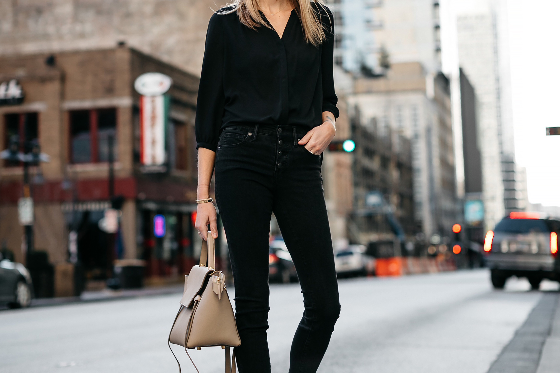 Woman Wearing Black Shirt Madewell Black Jeans Celine Belt Bag Fashion Jackson Dallas Blogger Fashion Blogger Street Style