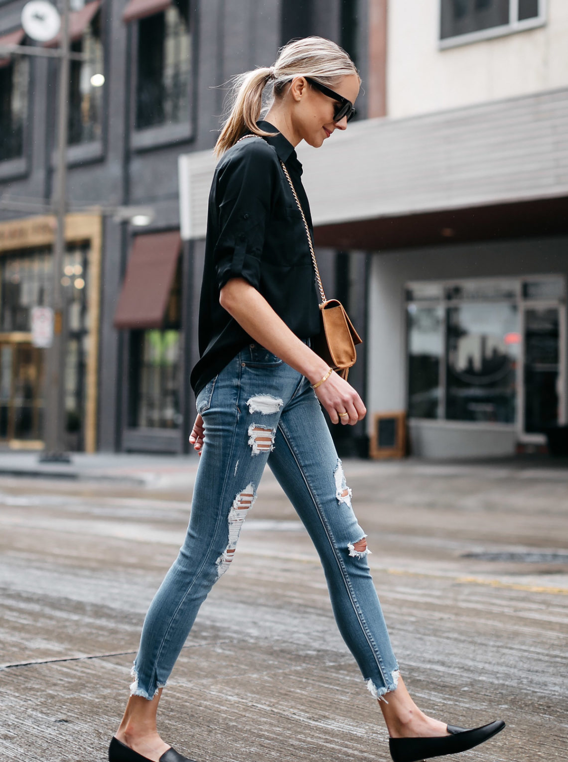 Blonde Woman Wearing Express Black Equipment Shirt Denim Ripped Skinny Jeans Black Loafers Fashion Jackson Dallas Blogger Fashion Blogger Street Style